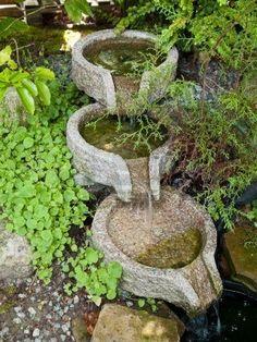 Hermoso jardín de casa decorativo tallado estanque de la cascada de piedra