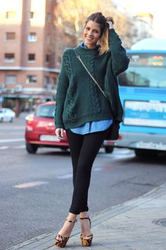 green sweater and chambray