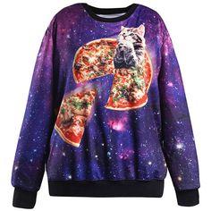 Purple Cat Galaxy Print Round Neck Pullover Sweatshirt ($22) ❤ liked on Polyvore featuring tops, hoodies, sweatshirts, purple, long sleeve tops, galaxy print top, purple sweatshirt, print pullover and galaxy print sweatshirt