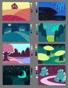 Limited Palette Color Studies by DizzySun on DeviantArt Marker Kunst, Posca Marker, Marker Art, Art And Illustration, Minecraft Banner Designs, Color Palette Challenge, Posca Art, Palette Art, Arte Sketchbook