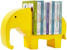 A yellow elephant bookcase looks good in kid's rooms
