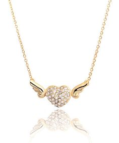 Another great find on #zulily! Clear Crystal Angel Heart Necklace #zulilyfinds