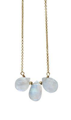 moonstone TRIO drop necklace - Kei Jewelry