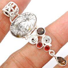 Black Rutile 925 Sterling Silver Pendant Jewelry BRUP883