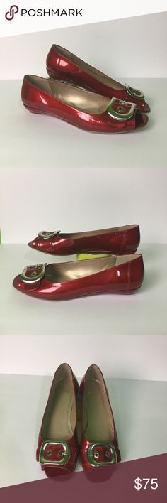 """Stuart Weitzman Red Patent Leather FlatsSize 11.5M Stuart Weitzman Red Patent Leather With Silver Buckle Open Peep Toe Flats/Wedges (Wedge is only 1"""" High) Size 11.5M Get 🎊 🍷ready with this shiny patent leather shoes!! #GirlsNightOut #TGIF Stuart Weitzman Shoes Flats & Loafers"""