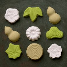 Rakugan (made by mixing flour of starch derived from rice or the like with starch syrup and sugar to apply coloring, and drying in a mold.)