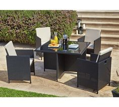 Buy HOME Cube Rattan Effect 4 Seater Patio Set - Black at Argos.co.uk, visit Argos.co.uk to shop online for Garden table and chair sets, Garden furniture, Home and garden