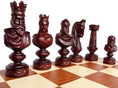 Unique Hand-Carved Wooden Chess Set - Large 60x60cm