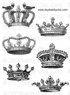 Furniture decals shabby chic french image transfer vintage Crowns kinds queens princess label script art crafts scrapbooking card making diy King Crown Tattoo, Crown Tattoo Design, King Tattoos, Queen Tattoo, King And Queen Crowns, King Queen, Coroa Tattoo, Mothers Day Drawings, French Images