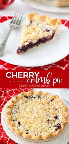Cherry Crumb Pie – Dessert Now, Dinner Later! Cherry Crumb Pie can be made with fresh or frozen cherries, flavored with a hint of almond extract, and topped with a sweet crumble topping. Easy and delicious! Cherry Desserts, Cherry Recipes, Köstliche Desserts, Delicious Desserts, Dessert Recipes, Cherry Pie Filling Desserts, Cherry Pie Crumble, Pie Crumble Topping, Cherry Pie Crumb Topping