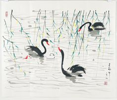 A very fine Chinese painting by Wu Guanzhong - Jan 2013 Japanese Painting, Chinese Painting, Chinese Art, Japanese Art, Chinese Brush, Animal Drawings, Art Drawings, Wu Guanzhong, Worli Painting