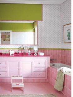 Cozy Girls Bathroom Colorful Design Pink White Tub Pink Washstand and Green Wall. #bathroom #modernbathroom #buthtub #modernbathtub #bathroomdesign #bathroomideas