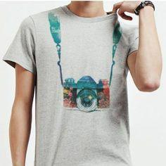 Camera T Shirt Mens Short Sleeve Shirts Vintage Graphic Tees White T Shirt 455 #MadeinKorea #GraphicTee