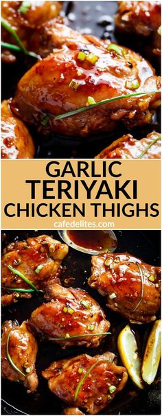 Garlic Teriyaki Chicken Thighs are cooked right on the stove without needing an…