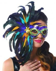Costume Masks For A Stunning Mask That Is Sure To Turn Heads Add This Multi Color Mardi Gras Feather Mask To Your Mardi Gras Costume
