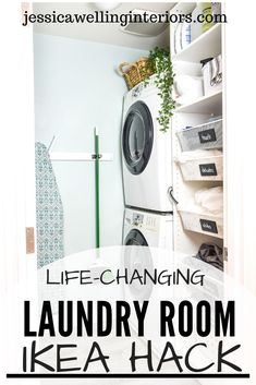 This life-changing Ikea hack for the laundry room uses every square inch of space! It's the perfect storage solution for dirty laundry and cleaning supplies!