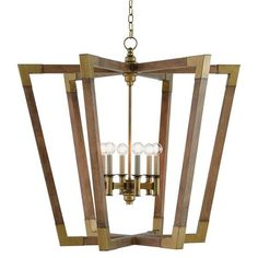 Wood and Brass Frame Contemporary Lantern