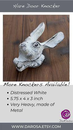 Hare Door Knocker in Distressed White Rabbit Knocker for image 7
