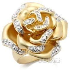 Womens Two Tone Clear Cubic Zirconia Ring RI00-05400