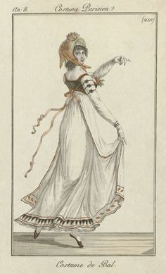 Journal des Dames et des Modes, Well, her face is giving me nightmares, but her gown is awesome. I love all the little details of the trim! 1800s Fashion, 18th Century Fashion, Victorian Fashion, Jane Austen, Regency Dress, Regency Era, Historical Costume, Historical Clothing, 1800s Clothing