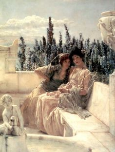 Whispering Noon Artist: Sir Lawrence Alma-Tadema Completion Date: 1896 Style: Romanticism Genre: genre painting Technique: oil Material: canvas Dimensions: x 56 cm Gallery: Private Collection Lawrence Alma Tadema, John William Waterhouse, Pre Raphaelite Paintings, William Adolphe Bouguereau, Art Japonais, Illustration, Victorian Art, Classical Art, Fine Art