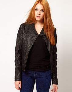 Barneys Originals Leather Jacket With Faux Sheepskin Lining $193.49