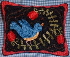 Primitive Needle Punch Pillow Bluebird and by thetalkingcrow