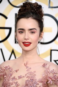 Lily Collins Shuts Down the Red Carpet With Her Sexy Goth Pink Makeup