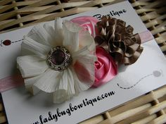 Flower Cluster Headband - Vintage Style on a Soft Elastic Headband - Custom Size - Ivory, Champagne and Pink