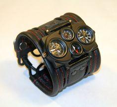"""Men's wrist watch leather bracelet """"Voyager-2"""" - SALE - Worldwide Shipping - Steampunk Watch - Leather cuff watch. (I love it!)"""