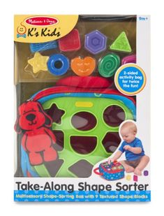 Melissa & Doug K's Kids Take-Along Shape Sorter Baby Toy With Activity Bag And 9 Textured Shape Blocks : Target Toddler Toys, Baby Toys, Kids Toys, Activity Bags, Kids Line, Travel Toys, Thing 1, Developmental Toys, Melissa & Doug