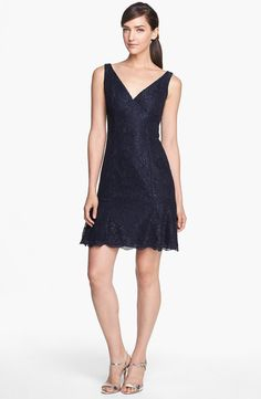 Midnight-hued lace from Monique Lhuillier