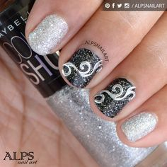 Black and Silver glitter nails by Alpsnailart