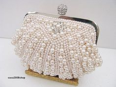 Champagne~Handmade Pearl~ New Bridal / Evening Purse Clutch Bag ☆Free shipping ☆