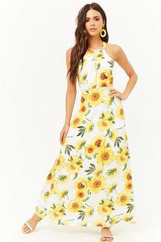 964f03aa12 Open-Back Sunflower Print Maxi Dress