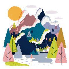 Rick Berkelmans #illustration - one man design studio based in Breda, Netherlands #trees #mountains