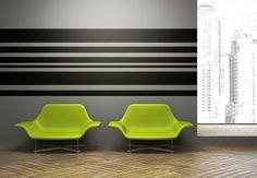 Décalque de mur rayures géométriques lignes jet Horizontal