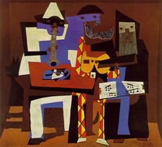 """PABLO PICASSO (Spanish): Three Musicians, 1921. Oil on canvas, 6' 7"""" x 7' 3 3/4"""" (200.7 x 222.9 cm)MoMA. The patterned flatness of the work is derived from cut–and–pasted paper, and stands in stark contrast to the sculptural monumentality of Picasso's Three Women at the Spring, also painted in the summer of 1921. (MoMA)"""