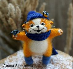 Animal Toys handmade. Livemaster - handmade. Buy Friendship )).Cat, mood, the first snow, white