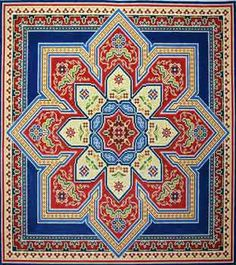 Canvas Works Bakhtiari Medallion - red, blue, gold ( PO94A-18 ) 17.0 w x 17.0 h inches 18 count canvas Price: $404.00