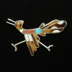Sterling silver roadrunner pin with inlaid stones. This pretty pin is from the American southwest. The pin is in very good to excellent condition. Bird Jewelry, Unique Jewelry, Vintage Jewelry, Turquoise Jewelry, Silver Jewelry, Belly Button Rings, Road Runner, Sterling Silver, Brooches