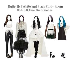 Fashion set Butterfly Looks Kpop Fashion Outfits, Stage Outfits, Korean Girl Fashion, Womens Fashion, Character Outfits, My Outfit, Celebrity Style, Fashion Looks, Goth Style