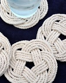 Martha Stewart Hostess Gift Guide for Summer 2014 featuring breadboards and little household tokens like these rope coasters