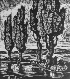 Brook with Poplars, 1932 ~ Linoleum cut ~ Birger Sandzén