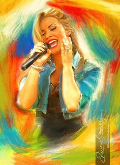 Live the music - Demi Lovato 6 ( Commission ) by on deviantART {digital art} Music Room Art, Advanced Photoshop, Celebrity Portraits, Amazing Drawings, Demi Lovato, Portrait Art, Traditional Art, Sketches, Illustration