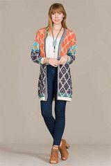 Navy & orange aztec sweater