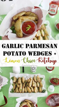 I'm here with another delish recipe for your Big Game get-togethers: Garlic Parmesan Potato Wedges and Lemon Chive Ketchup! This recipe makes a large crowd-pleasing tray of tender, flavorful herbed potato wedges with a ketchup dip that's livened up with a squeeze of lemon and fresh chopped chives. #KetchupWithFrenchs [ad]