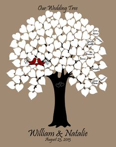 11x14 Personalized Wedding Tree Guest Book. 90 White Signature Hearts. Black Tree, LoveBirds. Great for Wedding, Bridal Shower, Anniversary.. $40.00, via Etsy.