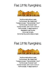 FIVE LITTLE PUMPKINS (FINGER PLAY/SONG FOR EARLY ELEMENTARY) - TeachersPayTeachers.com