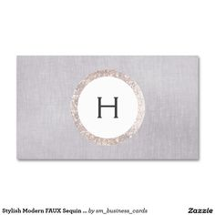 Stylish Modern FAUX Sequin and Gray Linen Monogram Double-Sided Standard Business Cards (Pack Of 100)